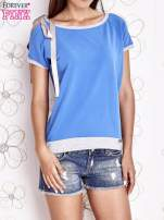 Niebieski t-shirt z kokardą                                                                          zdj.                                                                         1