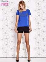 Niebieski t-shirt z napisem LIU J❤                                  zdj.                                  4