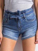 Niebieskie jeansowe szorty z wiązaniem                                  zdj.                                  1