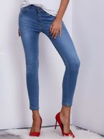 Niebieskie jeansy rurki z wysokim stanem                                   zdj.                                  1