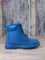 Niebieskie jednolite buty trekkingowe damskie traperki ocieplane                                                                          zdj.                                                                         1
