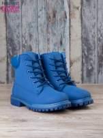 Niebieskie jednolite buty trekkingowe damskie traperki ocieplane                                                                          zdj.                                                                         3