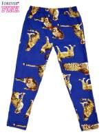 Niebieskie legginsy dziewczęce z nadrukiem gepardów                                  zdj.                                  1