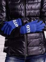 Niebieskie rękawiczki HELLO na pięć palców z wywijanym ściągaczem                                  zdj.                                  2