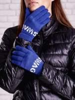 Niebieskie rękawiczki SWAG na pięć palców z wywijanym ściągaczem                                  zdj.                                  1