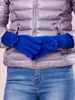 Czarne rękawiczki z kokardką i długim ściągaczem                                                                          zdj.                                                                         1