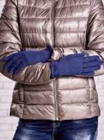 Brązowe rękawiczki z błyszczącą nicią z wywijanym mankietem                                                                          zdj.                                                                         2