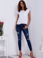 Niebieskie spodnie jeansowe skinny z przedarciami                                   zdj.                                  4
