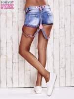 Niebieskie szorty jeansowe z szelkami                                  zdj.                                  4