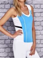 Niebiesko-biały damski top sportowy z nadrukiem na plecach                                  zdj.                                  4