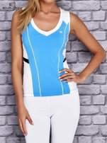 Niebiesko-biały damski top sportowy z nadrukiem na plecach                                  zdj.                                  1