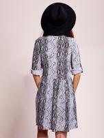 Niebiesko-czarna wzorzysta sukienka z kołnierzykiem                                  zdj.                                  2