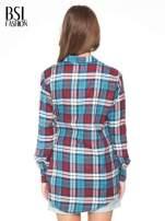 Niebiesko-czerwona bawełniana dłuższa koszula w kratę                                  zdj.                                  4