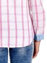 Niebieskoróżowa koszula w kratę z biżuteryjnym kołnierzykiem                                  zdj.                                  7