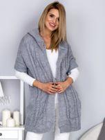 Otwarty sweter z warkoczowym wzorem i kapturem jasnoszary                                  zdj.                                  7