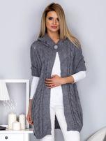 Otwarty sweter z warkoczowym wzorem i kapturem szary                                  zdj.                                  1