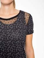 Panterkowy t-shirt z koronkowymi wstawkami przy dekolcie                                                                          zdj.                                                                         6