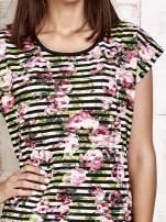 Pasiasty t-shirt w kwiaty                                                                          zdj.                                                                         5