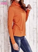 Pomarańczowa gładka bluzka z golfem                                                                          zdj.                                                                         3