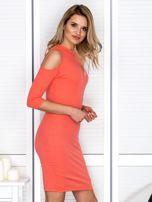 Pomarańczowa sukienka cold arms prążkowana                                  zdj.                                  3