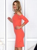 Pomarańczowa sukienka cold arms prążkowana                                  zdj.                                  5