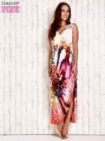 Pomarańczowa sukienka maxi z trójkątnym dekoltem                                                                          zdj.                                                                         2