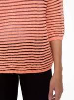Pomarańczowy półtransparentny sweter w prążki                                  zdj.                                  6