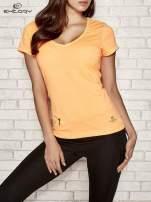 Pomarańczowy t-shirt sportowy z kieszonką na suwak PLUS SIZE