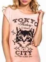 Pomarańczowy t-shirt z kotem i napisem TOKYO CITY                                  zdj.                                  4