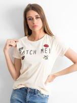 Brzoskwiniowy t-shirt Bustling                                  zdj.                                  1