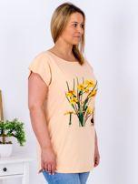 Pomarańczowy t-shirt z żonkilami PLUS SIZE                                  zdj.                                  5