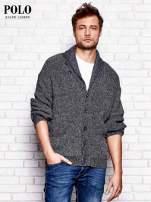 RALPH LAUREN Granatowy melanżowy sweter męski na guziki                                  zdj.                                  1