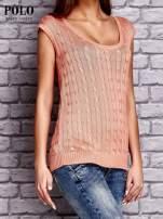 RALPH LAUREN Koralowy sweter z warkoczowym splotem                                  zdj.                                  3