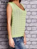 RALPH LAUREN Limonkowy sweter z warkoczowym splotem                                  zdj.                                  3
