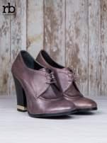 ROCCOBAROCCO Brązowe wiązane botki genuine leather skórzane oxfordki                                  zdj.                                  3