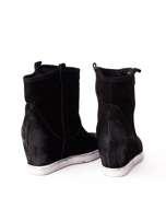 ROCCOBAROCCO Czarne cieniowane botki chamois leather na koturnie                                  zdj.                                  3