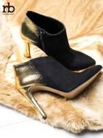 ROCCOBAROCCO Czarnozłote botki dual leather na szpilkach w szpic                                  zdj.                                  2