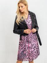 RUE PARIS Różowo-czarna sukienka Tiger                                  zdj.                                  6