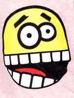 Różowa bawełniana bluzka dziecięca z zabawną emotikonką                                  zdj.                                  2
