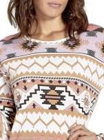 Różowa bluza w azteckie wzory z koronką                                                                          zdj.                                                                         6