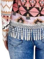 Różowa bluza w azteckie wzory z koronką z frędzlami                                                                          zdj.                                                                         6