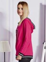 Różowa bluza z herbem z dżetów                                   zdj.                                  5