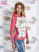 Różowa bluza z kapturem i napisem HONOUR                                  zdj.                                  3
