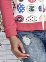 Różowa bluza z kapturem i napisem HONOUR                                  zdj.                                  7