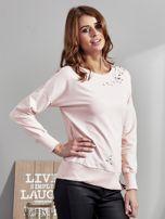 Różowa bluza z rozcięciami i perełkami                                  zdj.                                  5