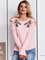 Różowa bluzka z cekinowymi kwiatami                                  zdj.                                  1