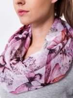 Różowa chusta szal w ważki                                  zdj.                                  3