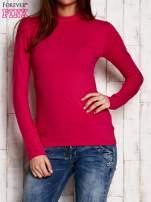 Różowa gładka bluzka z półgolfem                                  zdj.                                  1
