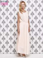Różowa grecka sukienka maxi z koronką z tyłu                                  zdj.                                  4