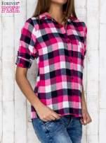 Różowa koszula w kratę z kieszonką                                  zdj.                                  3